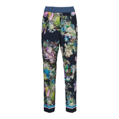 Gustav Printed Pants W. Wide Legs Orchid - Forever Blue / SALE