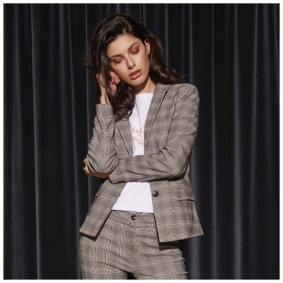 Minus Carma Checked Blazer - Chequered Grey / SALE