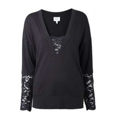 Dante 6 Bo Lace Jersey Top - Raven Black   /  SOLD OUT